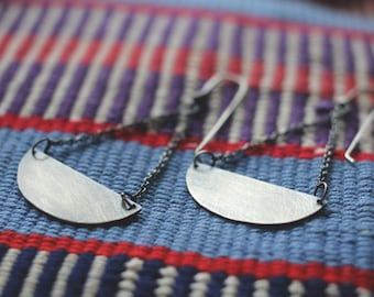 Espana No. 16- oxidized tribal sterling silver half moon blade (READY TO MAIL) - earrings
