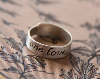 SALE: handmade One Love sterling silver band with 14k faux gold rivet