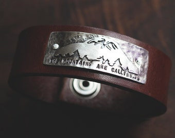John Muir: The Mountains Are Calling And I Must Go (made to order) - leather cuff bracelet