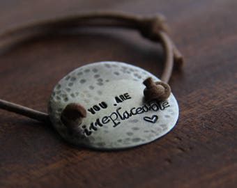 round sterling silver - personalize with your own message - (adjustable) silver & leather bracelet