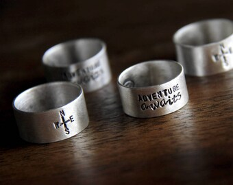 reversible ring: compass on one side and adventure awaits on the other side (made to order) - ring