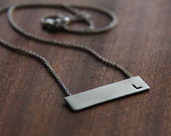 horizontal sterling silver rectangle bar (hand stamped - personalized - made to order) - necklace