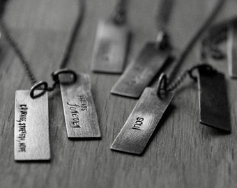 sterling silver stacking rectangle hand stamped unisex tag (made to order) - necklace