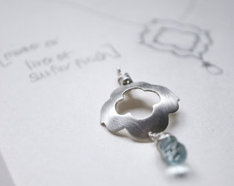 Morocco 8: bohemian arabesque pattern with aqua blue glass briolette - necklace