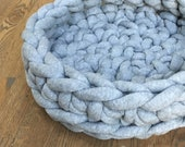 Cat Bed - Chunky Knit Cat Bed, Crochet Cat Bed, Grey Cat Bed - Gray Cat Bed