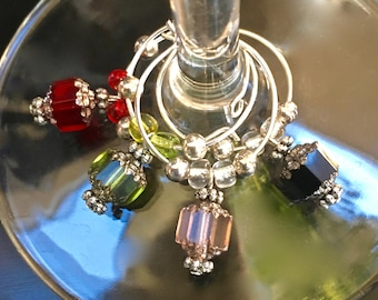 Wine Glass Charms - Czech Glass Cathedral Beads - Wine Charms