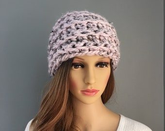 c655a7c7b1f3b Hand Knit Hat - Pink Hat - Slouchy Hat - Pink and Grey Beanie Hat - FREE  SHIPPING in USA
