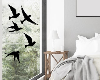 Bird Window Decals   Bird Decal, Birds in Flight Wall Decal Set, Bird Collision Window Stickers, Sliding Glass Door Decal Camper Windows