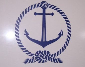 Anchor Vinyl Wall Decal, sea wall decal, Vinyl graphics, Nautical rope and anchor, beach decor great for Boating lovers, bathroom mirror