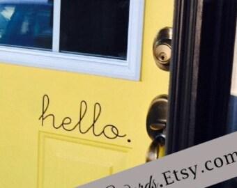 Hello Door Decal, Hello Vinyl Decal, Hello Decal, Hello Vinyl Lettering Front Door Decal, Front Door Hello Decal, Door Decal Sticker, Office