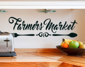 Fork and Spoon Decal Farmhouse Kitchen Wall Decor Farmers market Sign Vinyl Wall Decal Sticker Farmhouse Decorations Pantry Door Decal