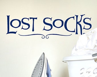 Lost Socks Vinyl Wall Decal Words, Launry decor, Laundry sticker