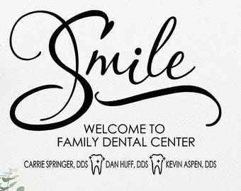 personalized dentist etsy Dental School Students custom dentist office wall decal dental office decor wall decals for dentist office smile decal personalized dentist sign vinyl wall decal