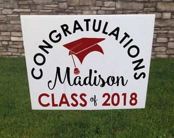 Graduation Yard Sign, Graduation Party Sign, Corrugated Yard Sign, Custom Graduation Yard Signs, Metal Yard Stake Included, 24x18 yard Sign