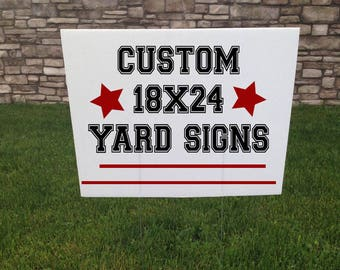Corrugated Yard Sign, Custom Yard Signs, Yard Stake, 24 x 18, Garage Sale Signs, Baby Shower Signs, Wedding Sign, Graduation Party Sign