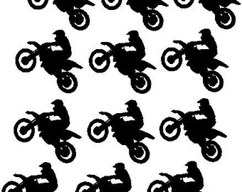 Dirt Bike Birthday Party Decals Twelve Motorcycle Vinyl Racing Sticker Boy Decor