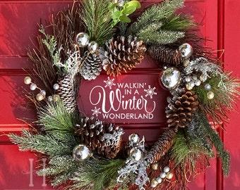 snowflake vinyl decal christmas decor walking in a winter wonderland christmas decoration front door decor christmas house door decals