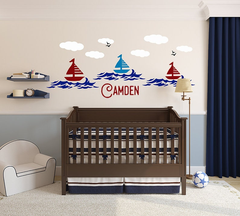 Name Wall Letters Alphabet Stickers Initial Decals Boys Ocean Decor Nautical