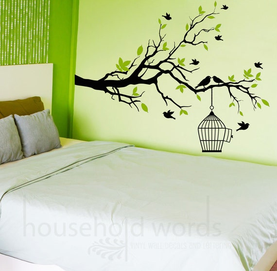 Self Adhesive Vinyl Wall Decal Tree Branch With Flying