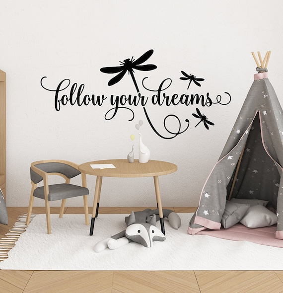 girls bedroom wall decal follow your dreams decal dragonfly | etsy