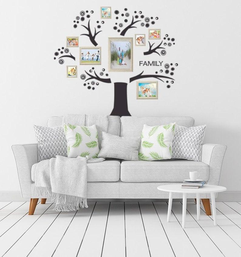 family tree wall decal memory tree photo tree photo gallery | etsy