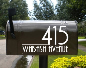 Mailbox Number Stickers for Both Sides Pretty Mailbox Modern Number Decals, Mailbox Street Numbers, Outdoor House decal, Modern Address