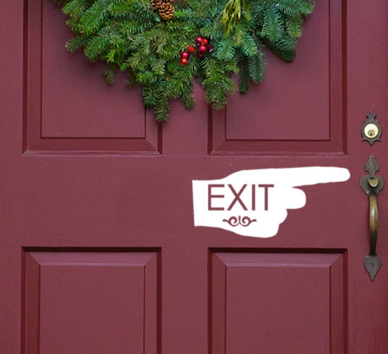 pointing finger Exit office exit sign window Bathroom decal entry sign business stickers Office door sticker Exit Decal Guest sign