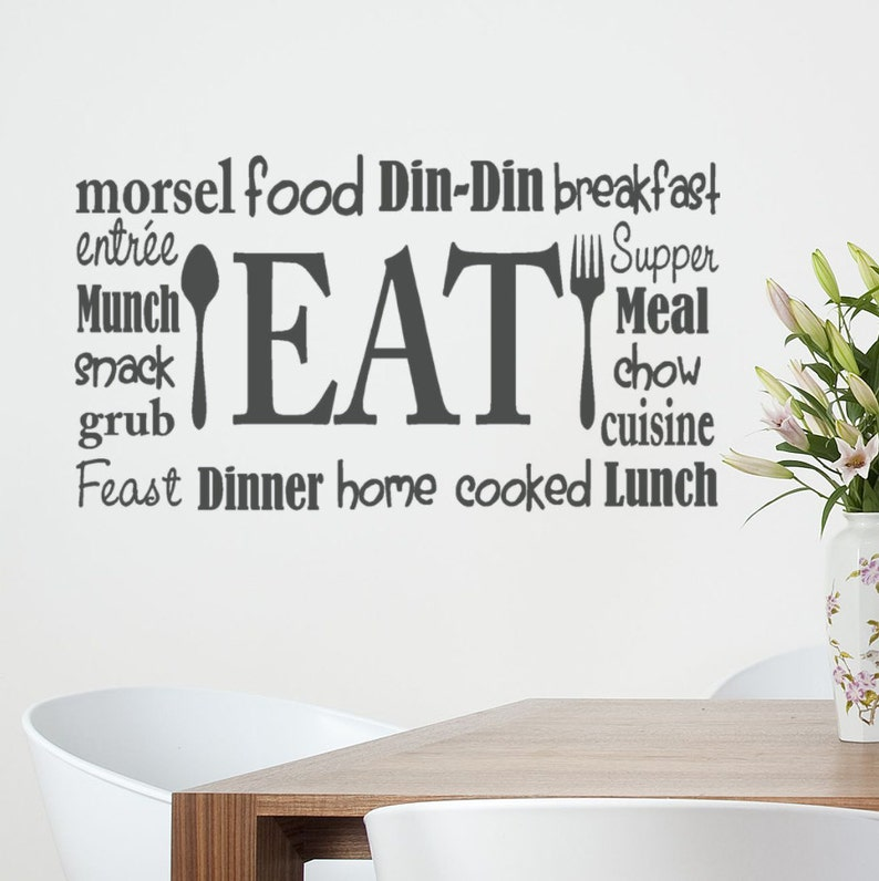 kitchen wall decal eat wall decal eat vinyl decals for | etsy