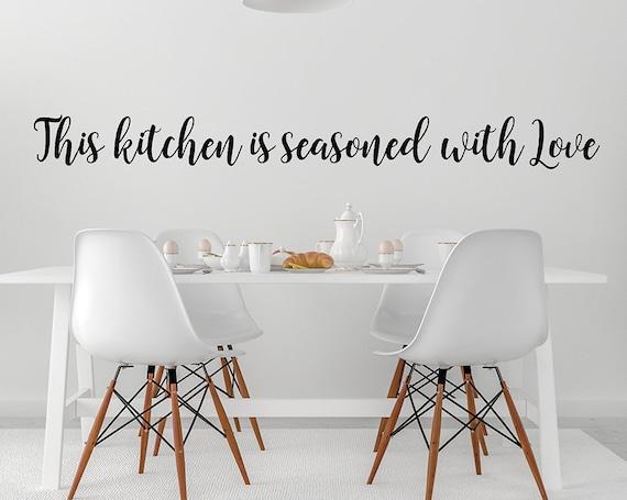 Kitchen Vinyl Wall Decal Words Decor Seasoned
