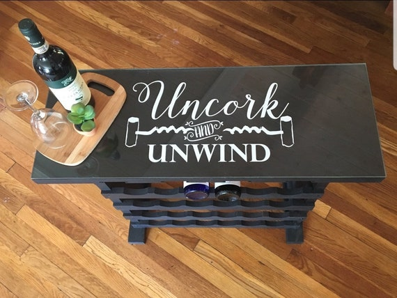Wine Wall Decals, Uncork and Unwind Decal, Wine Kitchen decor, Wine vinyl  wall decal words, Wine Decals, Wine Stickers, Wine decor, gifts