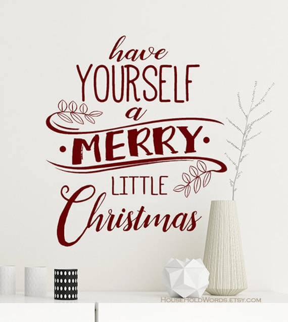 Christmas Decor Vinyl Wall Decal Words Have Yourself a Merry | Etsy