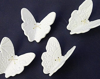 Large Wall art 15 Porcelain 3D Butterflies White Butterfly & Sterling Silver, Copper or Gold colour Brass Decor Bathroom Living Room Bedroom