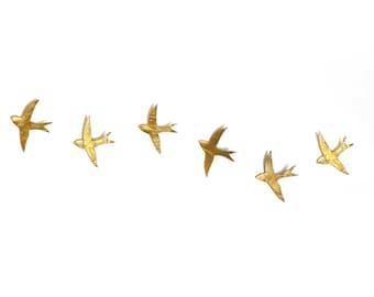 Ceramic wall art 6 golden porcelain swallows Metallic gold finish birds Wall sculpture Home decor Fine art gift