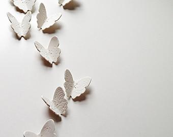 3D Butterfly wall art Large wall art set 21 White porcelain handmade ceramic & silver copper or gold brass butterflies Original art artwork