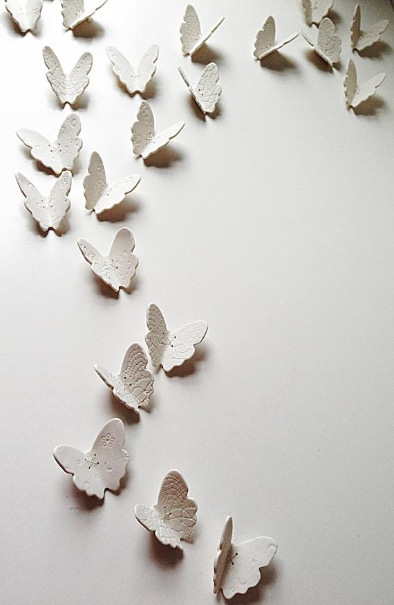 3D Butterfly wall art Large wall art set 21 White porcelain | Etsy