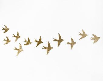 Flock 11 wall art sculptures Set of swallows Original artwork Ceramic birds wall sculpture in porcelain with gold finish Wall hanging decor