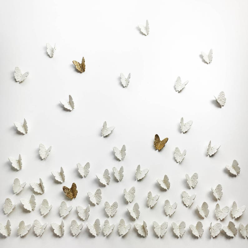Extra large wall art set 3D Butterfly wall art 60 White 57 White + 3 Gold
