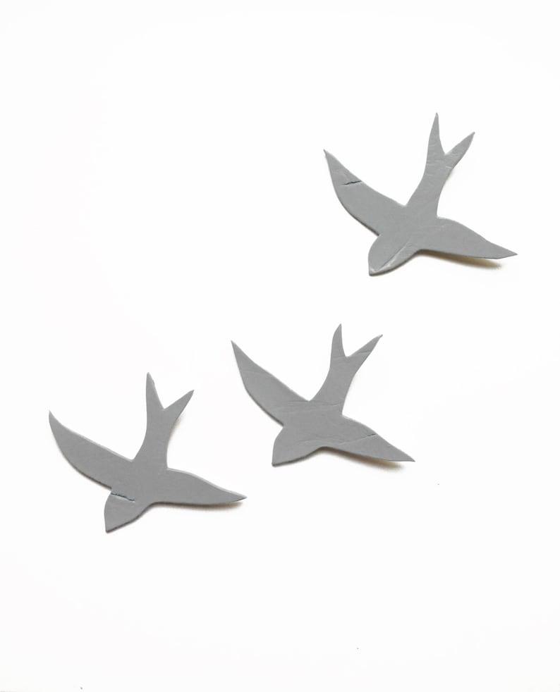 Ceramic wall art Wall hanging sculpture three swallows Gray birds Concrete grey Soft pale mid grey Kitchen art decor bathroom living room