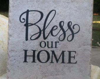 Bless Our Home Saying on Tile with Easel Back Sign