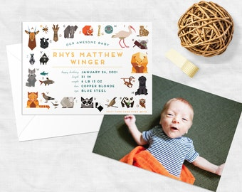 ABC Animals Baby Announcement- Charly Harper Inspired (with full size photo on back!)