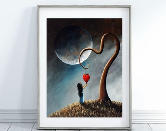 surrealism art, from original painting, surreal art print, memory art, moon art, girl with heart, surrealism, fantasy artist, fantasy art