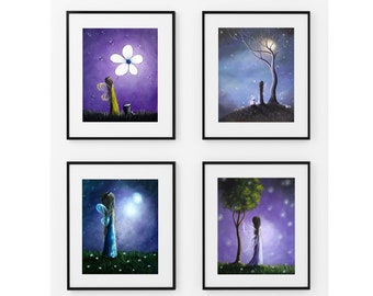 Fairy Art Prints, Fairy Pictures, Wall Art, Purple Art, Purple Theme, Home Decor, Gift Idea, Daughter's Room, Bedroom Art, Erback, Set of 4