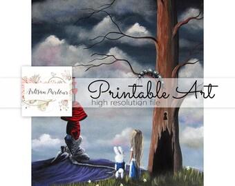 Alice In Wonderland Printable - Fairytale - 8x10 - Rabbit - Fantasy - Children's Stories - Digital Download - Journal Insert - Collage Sheet