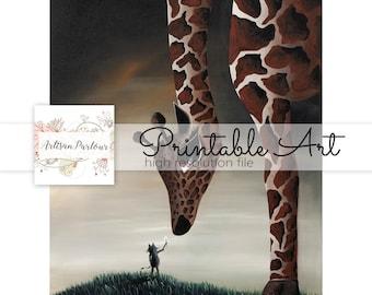Giraffe Art Printable - Whimsical Artwork - Animal Friends - Fantasy Art - Downloads - Printables - Art For Crafts - 8x10 - Big Eye - Kitten