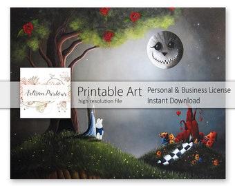 Alice In Wonderland Printables - Fairytale Art - Rabbit - Cheshire Cat - Art To Print - Wall Art - Digital Art - Best Selling - Fairytales