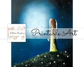 Printable Art - Art For Crafts - Girl - Child - Fantasy - 8x10 - Junk Journal Inserts - Collage Sheet - Digi File - DIY Crafts - Printables