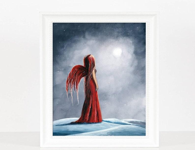 winter fairy art print wall art red dress art fantasy image 0