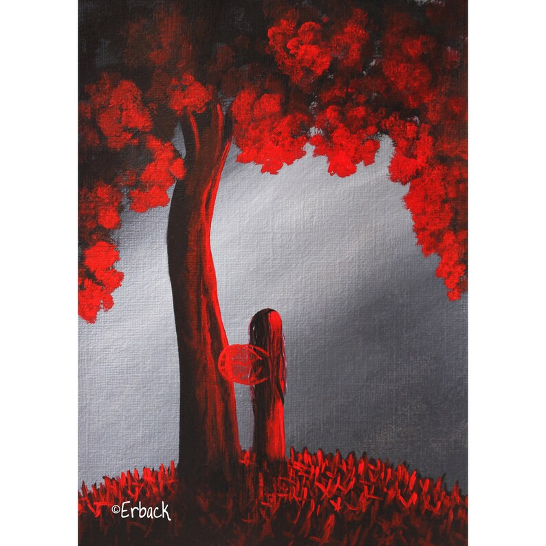 red fairy picture LIMITED EDITION PRINT fairy art print image 0