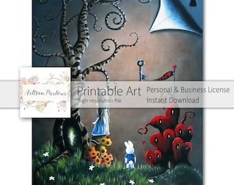 Digital Alice In Wonderland - Printable Art - Instant Download - Digital Art - 8x10 Printable - Printable Paper - Business Ok - White Rabbit