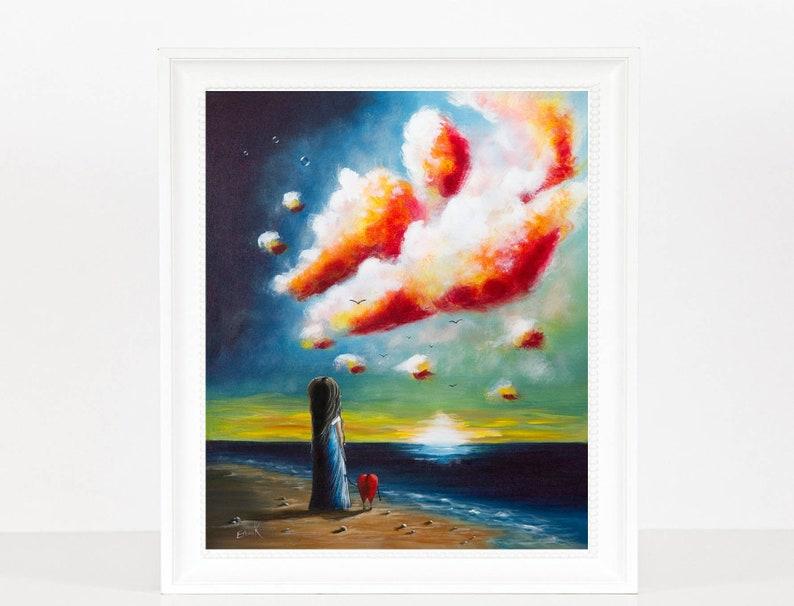 seascape art girl with heart colorful art beach home decor image 0